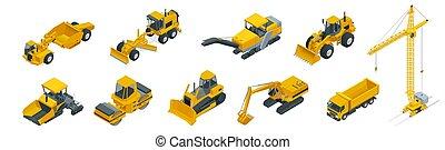 predios, isometric, jogo, bulldozer., caminhões, ícones, branca, isolado, ilustração, equipamento, vetorial, maquinaria, guindaste construção, máquinas
