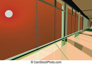 predios, janelas, modernos, pôr do sol, escritório