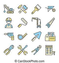 predios, jogo, ferramentas, ícone