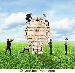 predios, lightbulb, construído, negócio, parede, grande, junto, criativo, idea., pessoa, novo, desenhado, tijolo