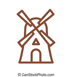 predios, linha, sinal, tradicional, producao, bakery., icon., agricultura, moinho, pão