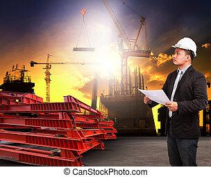 predios, local trabalhando, readin, engenharia, construção, homem