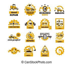predios, logotipos, jogo, asfalto, maquinaria, grande, processando, isolado, escavador, trator, equipamento, tema, transporte, crane., fundo, profissional, works., caminhão, tools., construction.