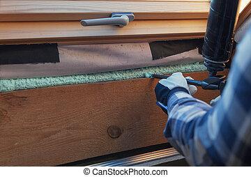 predios, madeira, espuma, janela, calor, isolação, eco-house., construction.