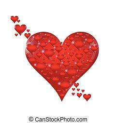 predios, maior, ilustração, one., pequeno, corações
