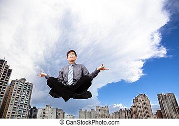 predios, modernos, meditar, ar, homem negócios, antes de