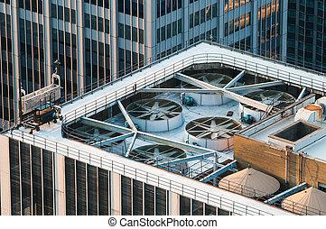 predios, modernos, telhado, arranha-céu, escritório