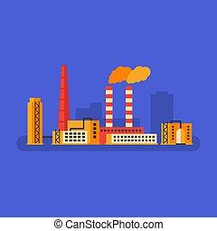 predios, negócio, concept., fábrica, pipe., smokestack