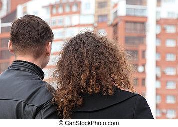predios, olhando jovem, par, vista traseira