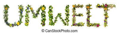 predios, palavra, flor, umwelt, letra, meio ambiente, flor, ...
