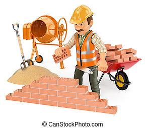 predios, parede, trabalhador, construção, tijolo, 3d