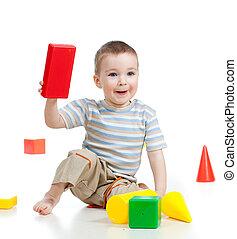 predios, pequeno, blocos, tocando, criança