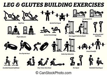 predios, pernas, figura, pictograms., vara, glutes, músculo, exercício