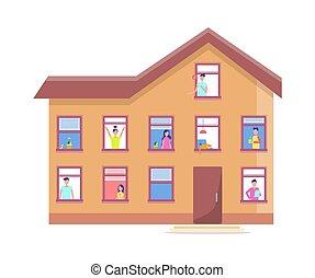 predios, pessoas, janelas, casa, três, storey, vetorial