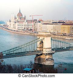 predios, ponte, parlamento, corrente, europe., budapest, hungria