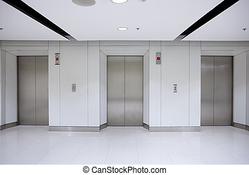 predios, portas, escritório, três, elevador, corredor