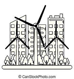 predios, pretas, branca, turbinas, vento