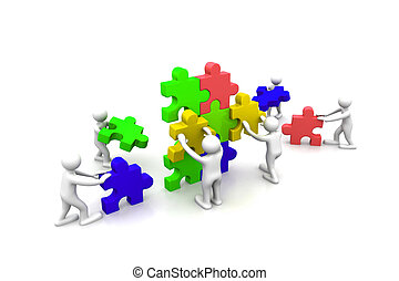 predios, Quebra-cabeças, Trabalho equipe, negócio, junto