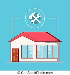 predios, reparar, casa, lar, ícones