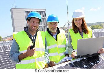 predios, reunião, grupo, telhado, engenheiros