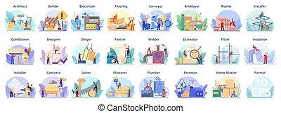 predios, set., engenharia, architecting, profissão, construção