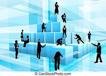 predios, silueta, pessoas negócio, equipe, blocos