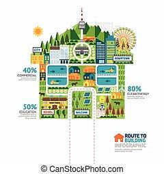 predios, teia, conceito, infographic, sucesso, negócio, casa, design.route, vetorial, layout., forma, projeto gráfico, ilustração, modelo, ou, /