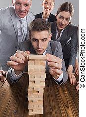 predios, torre, madeira, pessoas negócio