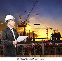 predios, trabalhando, jovem, st, construção, plano, homem, engenheiro