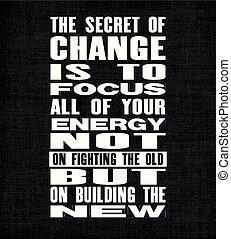 predios, tudo, inspirar, antigas, texto, energia, motivação, mas, foco, segredo, vetorial, luta, citação, não, new., poster., seu, mudança