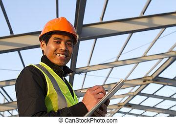 predios, verificar, construção, plano, sob, novo, engenheiro