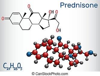 Prednisone molecule. A synthetic anti-inflammatory...