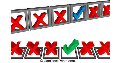 preencher, saída, forma, caixas, cheque, marcas, voto,...