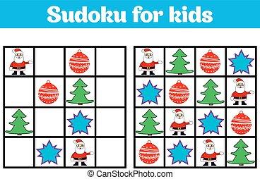 preescolar, alegre, illustration., año, vector, sudoku, nuevo, educativo, navidad, juego, pictures., children., lógica, rebus, niños