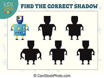 preescolar, correcto, robot, educativo, sombra, mini, lindo, juego, hallazgo, caricatura, niños, humanoide
