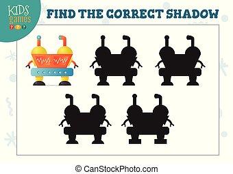 preescolar, correcto, robot, sombra, mini, lindo, juego, hallazgo, caricatura, niños, humanoide