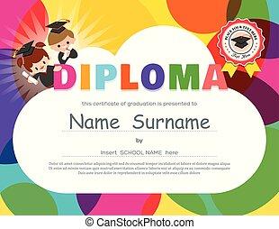 preescolar, diploma, plantilla, diseño, certificado, niños, escuela, elemental
