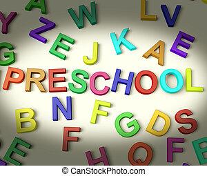preescolar, escrito, en, multicolor, plástico, niños, cartas