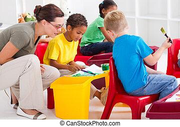 preescolar, estudiantes, y, profesor