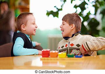preescolar, incapacidades, relación, entre, niños