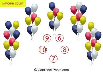 preescolar, matemáticas, contar, objects., task., matemáticas, logic., juego, children., cómo, aprendizaje, números, muchos