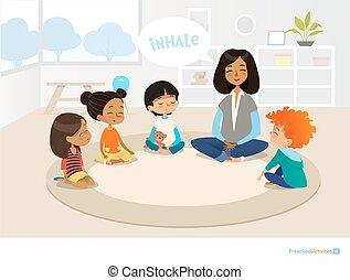 preescolar, meditating., sonriente, educación, niños, vector, advertisement., sitio web, niñez, ilustración, actividades, sentado, profesor, jardín de la infancia, bandera, concept., temprano, círculo, cartel