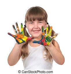preescolar, niño, esperar, hacer, handprints