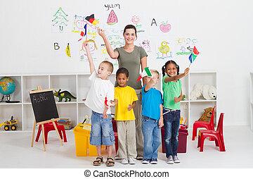 preescolar, niños, y, profesor