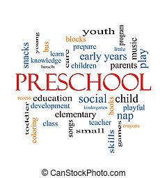 preescolar, palabra, nube, concepto