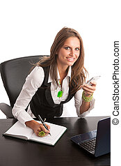 Preety business secretarry woman working in office isolated over white background