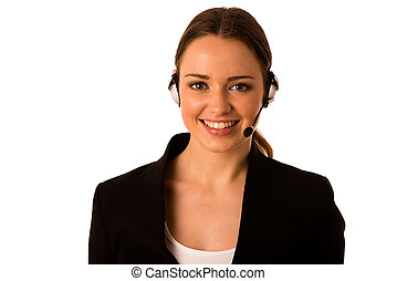 Preety happy asian caucasian business woman with headset...