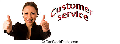 Preety happy asian caucasian business woman with headset showing thumb up as a gesture for success isolated