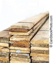 Prefabricated slat stacked ready use - closeup isolated...