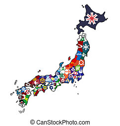 prefectures of japan on administration map